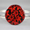 Women's round resin silver cuff bracelet bangle, leaf, leaves, maple, red, print