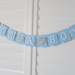 IT'S A BOY Banner Bunting Garland - Baby Shower decoration, Birth Announcement