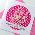 Pink polka dot laser cut teapot birthday girl lady sister her heart card