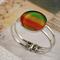 Women's round resin silver cuff bracelet bangle, measuring tape, ruler, print