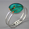 Women's round resin silver cuff bracelet bangle, flowers, floral, native, print