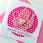 Pink polka dot laser cut teapot birthday girl lady sister her heart card