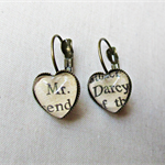 Pride and Prejudice Earrings Brass Dangle Jane Austen Upcycled Literature