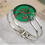 Women's round resin silver cuff bracelet bangle, pink, blossom, flower, print
