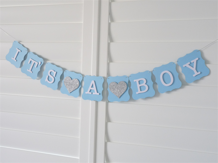 It 39 s a boy banner bunting garland baby shower decoration for Baby shower decoration store