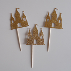 10x Gold Castle cupcake toppers - Fairy Tale, Princess, Once upon a time Party