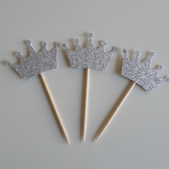 10x Silver Crown cupcake toppers - Fairy Tale, Princess, Once upon a time Party