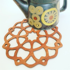Mandala Star trivet in jarrah