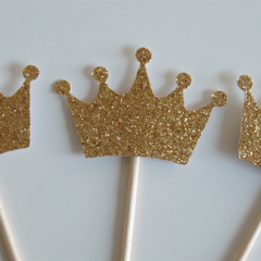 10x Gold Crown cupcake toppers - Fairy Tale, Princess, Once upon a time Party