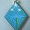 Free shipping. Diamond Shape laser wood cut pendant with free chain.