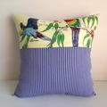 Bird pillow cover, Australian parrots rustic Cushion bushland linen tea towel
