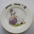 Hand painted Royal Doulton plate with little girl and goosey gander