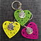 1 Laser Cut Colourful Heart Key Ring and Charm