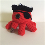 Crocheted pirate octopus toy softie