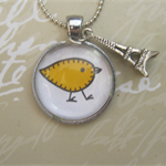 Free Shipping.  Little Yellow Bird pendant on a fine ball chain.
