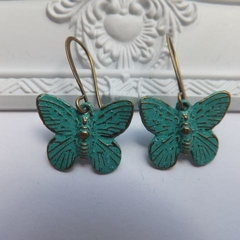 Antique Bronze Verdigris Patina Butterfly Earrings
