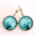 Blue Tree and Bird Silver Earrings