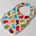 Baby / Toddler bib Birds unisex blue green orange red brown / snap fasten
