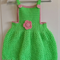Apple green and pink crocheted Overall Dress with matching headband.