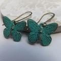 Antique Bronze Verdigris Patina Butterfly Earrings