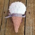 Plush upcycled ice cream rattle
