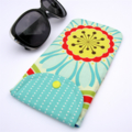 Sunglass / Pencil Case - Yellow & Red Atomic flower with blue petals