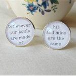 Wuthering Heights Cuff Links Cufflinks Wedding Groom Father Silver Black White