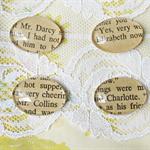 Pride and Prejudice Fridge Magnet Set of Four Glass Mr Darcy Elizabeth Bennet Mr