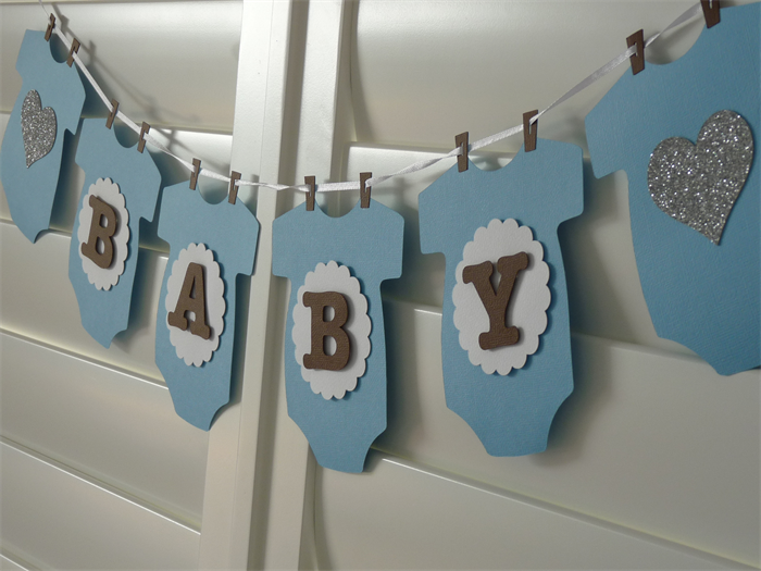 Baby Boy Onesie Banner Bunting Party Decoration Baby Shower Blue