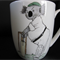 Hand painted mug with a koala playing cricket