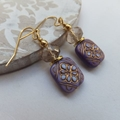 Vintage Antiqued Lilac and Gold with Crystal Long or Short Earrings