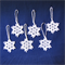 Six White Hand Crocheted Snowflakes Xmas Tree Decorations Set