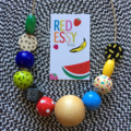 "Hand-painted ""Fruit Tingle"" Wooden Necklace - CUSTOM LISTING"