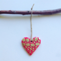 Gold + Fuchsia Christmas Heart Ornament/Gift Tag
