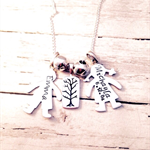 Personalised Sterling Silver Boy & Girl with Tree Hand Stamped Necklace