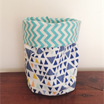 Small Soft Fabric Storage Bucket - Triangles
