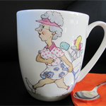 Hand painted mug for a golfing Lady