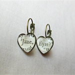 Jane Eyre Earrings Brass Dangle Upcycled Literature Charlotte Bronte