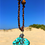 Stainless Steel Wire Wrapped Turquoise and Tiger's Eye Crystal Necklace
