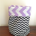 Small Soft Fabric Storage Bucket - Chevron Design