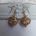 Gold Heart Wishbox  Earrings