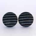 Buy 3 Get 4th Free! Grey and Black Stripe Fabric Button Stud Earrings