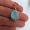 SALE Light Blue and Gold Inlay Czech Teardrop Earrings