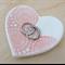 Pink porcelain heart ring dish, ring holder. Ceramic bowl.