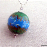 Hand Painted - River Landscape - large wooden bead, silver ball chain necklace