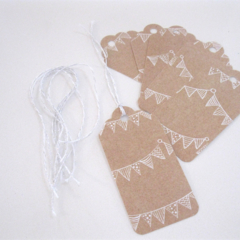 Set of 6 Bunting Gift Tags. General Gift Tags. Birthday Gift Tags.