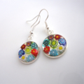 Millefiori earrings multi coloured flowers Venetian Murano glass small round