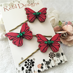 Butterfly Hair pins - Red and Green Christmas colours