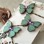 Butterfly Hair pins - Teal Green and light Purple