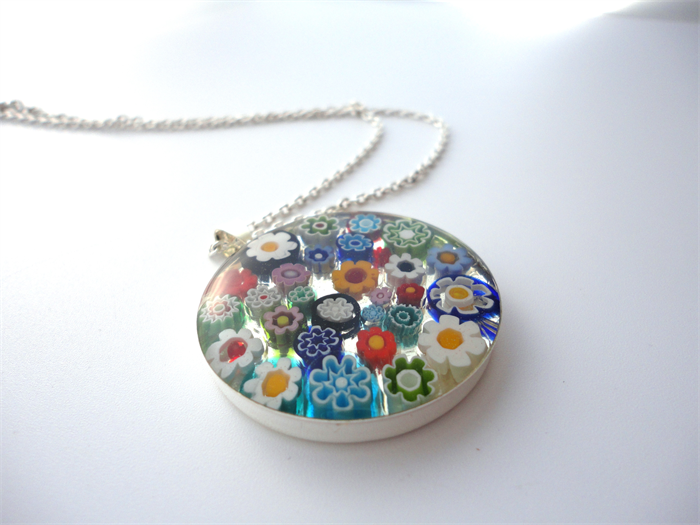 Murano glass millefiori pendant necklace large round multi coloured murano glass millefiori pendant necklace large round multi coloured flowers mozeypictures Choice Image